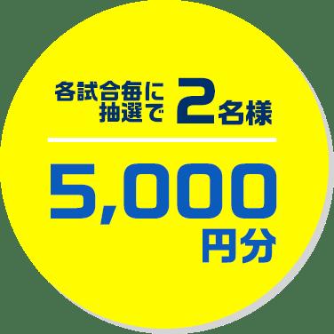 各試合毎に抽選で2名様5,000円分