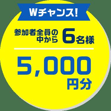Wチャンス!参加者全員の中から3名様10,000円分